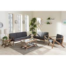 Mid Century Living Room Set Baxton Studio Cayla Mid Century Modern Grey Fabric And Walnut