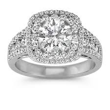 double halo multi size round diamond enement ring