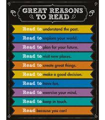 Library Decoration Chart Great Reasons To Read Chart Grade 1 8 Reading Bulletin