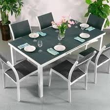 Dining Table Set Beatrice White Grey 6 Person Aluminium Glass