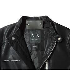 a x armani exchange men s blouson moto jacket coat faux leather ret black s