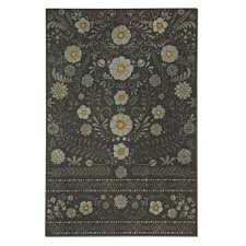 Kitchen Floor Runner Kitchen Black Rectangular Throw Rug Vintage Vinyl Daisy