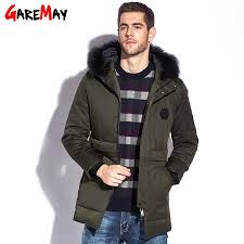 garemay down coat men fur parka winter jacket mens puffer waterproof coats big size feather parka for man down jackets hooded by clothwelldone
