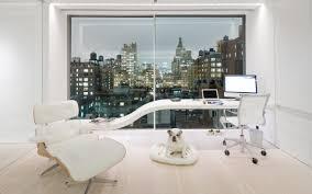 minimalist home office design. Astonishing Minimalist Home Office Interior With Trendy Curved Desk Idea Design