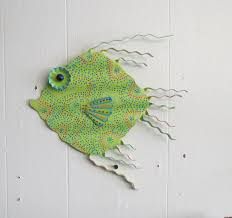 fun whimsy metal painted fish wall or outdoor art decor beach lake nautical 11 x 10 on whimsical metal fish wall art with fun whimsy metal painted fish wall or outdoor art decor beach lake
