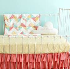 121 best Coral & grey nursery images on Pinterest | Baby room ... & Baby Girl Crib Bedding Coral Aqua Yellow by LottieDaBaby on Etsy, Adamdwight.com