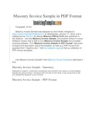 invoice sample pdf fillable online masonry invoice sample in pdf format fax