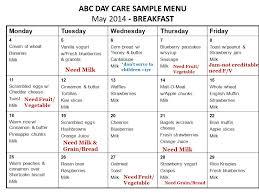 Cacfp Meal Pattern Impressive Menu Exercises CACFP Meal Patterns Breakfast Milk GrainBread