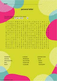 Wordsearch Personal Letter Interactive Worksheet
