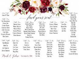 Seating Chart Design Floral Seating Chart For Wedding Digital Design