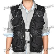 multi function mesh fishing photography vest black