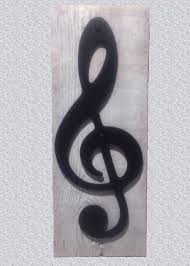 Treble Clef Music Store Metal Art Treble Clef Music Note On Reclaimed Wood