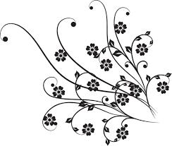 花のイラストフリー素材白黒モノクロno463白黒茎葉5枚葉