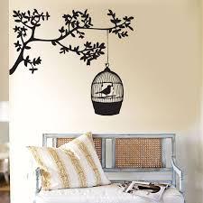 bird cage hanging tree vinyl wall art decal