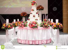 Wedding Ceremony Decorations Cake Decorate With Pink Rose Flower And Candle For Wedding