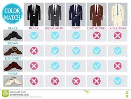 Color Mix Match Guide For Shoes And Suit Stock Vector
