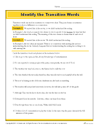 transitioning sentences identify the transition words printable writing worksheet