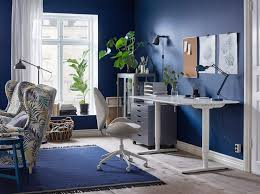 desk for office at home. Wonderful Desk A Blue And White Home Office With The Ergonomic HATTEFJLL Swivel Chair In  Beige Sit Intended Desk For Office At Home