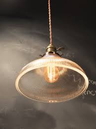 retro glass lamp shades vintage industrial holophane shaded pendant hanging 2