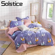 solstice home textile purple fox bedding sets kid teen girl linens queen twin duvet quilt cover pillowcase pink plaid bed sheet black toile bedding