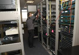 Person in server bank