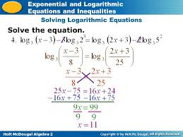 solving logarithmic equations and inequalities jennarocca