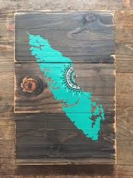 Small Picture Island Mandala Sun in Turquoise Reclaimed wood home decor rustic