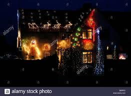Christmas Lights Buckinghamshire A House In South Heath Buckinghamshire England Lit Up With
