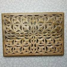 rustic artisan hand carved wood wall