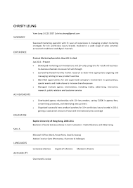 Product Marketing Specialist Sample Resume Product Marketing Specialist CV CTgoodjobs powered by Career Times 1