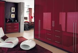 Cosmopolitan Bedroom Furniture  Wardrobes In Burgundy By Sharps - Red gloss bedroom furniture