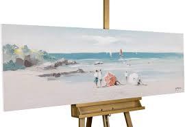 Kunstloft Gemälde Strandtag 150x50cm Original Handgemalte