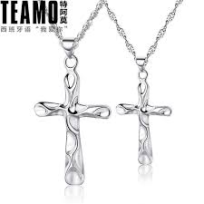 teamo his and hers necklaces wave cross necklaces for women and men sterling