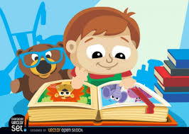 children character looking a book free vector