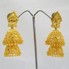 large double layered jhumka earrings gold plated metal indian ethnic jewellery