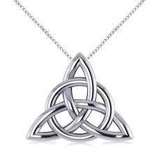 triangular irish trinity celtic knot pendant necklace 14k white gold