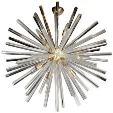 spectacular murano glass triedre crystal sputnik chandelier with brass fittings for