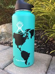 Light Blue Hydro Flask Light Blue World Map Hydro Flask In 2019 Water Bottle Art