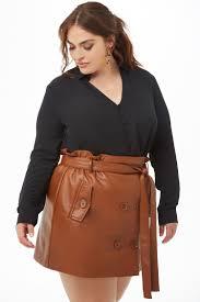 plus size faux leather mini skirt
