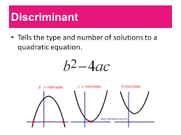 2 discriminant tells the type and number of solutions to a quadratic equation