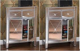mirrorred furniture. Amazon.com: Set Of 2 Mirrored Hollywood Glam Dresser Bedroom Chest Storage Drawers Nightstand: Kitchen \u0026 Dining Mirrorred Furniture