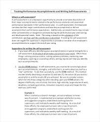 Review Examples For Employees Example Of Job Self Evaluation Forms Writing My Own Performance