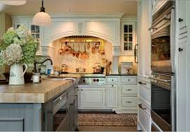 country kitchen with maple end grain island countertop