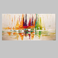 boats on sea modern canvas abstract oil painting wall art with stretched frame ready to on cheap abstract wall art canvas with boats on sea modern canvas abstract oil painting wall art with
