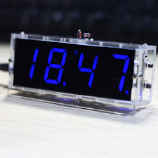 Digital Time Clock For Lighting Us 6 53 34 Off 2016 Compact 4 Digit Diy Digital Led Clock Kit Light Control Temperature Date Time Display With Transparent Case In Instrument Parts