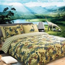 boys green and cream army camouflage and dinosaur pattern jungle animal shabby chic 100 cotton twin full queen size bedding sets