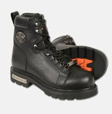men s motorbike real leather lace to toe boot with side zipper