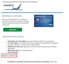 The referral bonus offer is available to eligible personal checking account holders approximately 30 days after account opening. Chase Ink Business Unlimited 500 Offering Showing 9 20 End Date Doctor Of Credit