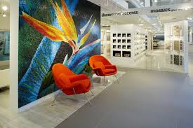 the daltile keysgranite miami design studio welcomes visitors with a stunning byzantine glass mural of