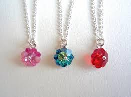 tiny glass flower necklace swarovski